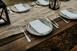 empty plates set for labor day weekend