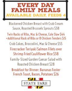 family meal menu